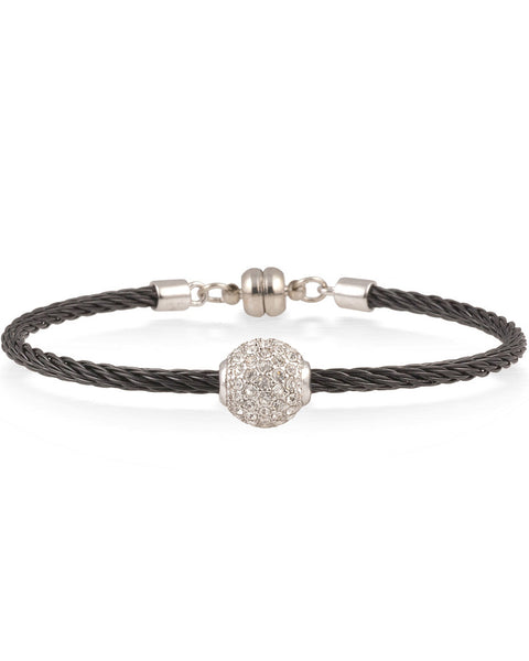 Black Cable Bracelet With White Crystal Ball