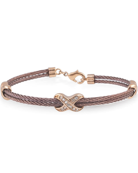 Bronze Cable Bracelet With Rose Plated Stainless Steel