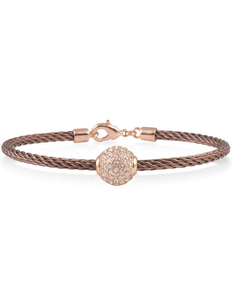Bronze Cable Bracelet With Rose Plated Crystal Ball