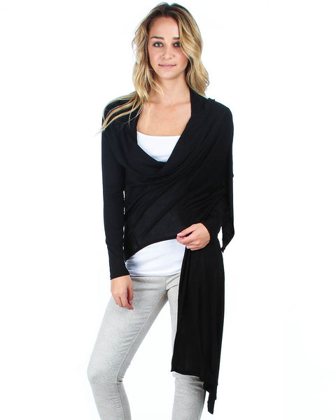 Hi-Lo Open Wrap Black Cardigan