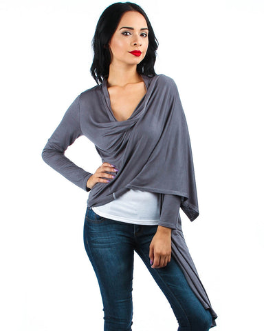 Hi-Lo Open Wrap Charcoal Cardigan