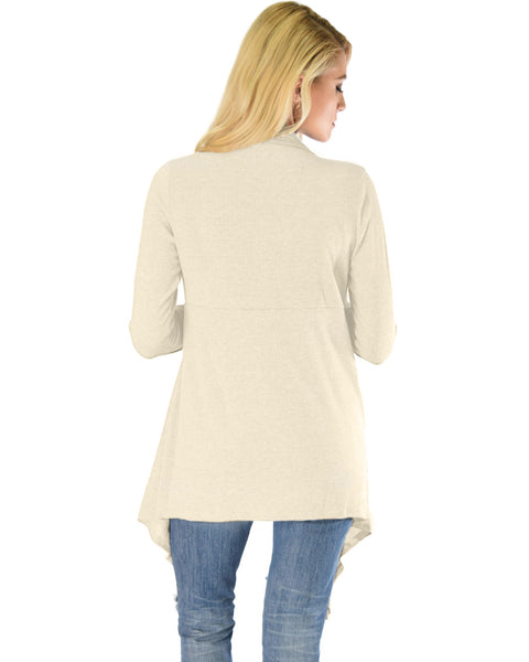 Body Slimming Draped Ribbed Ivory Cardigan