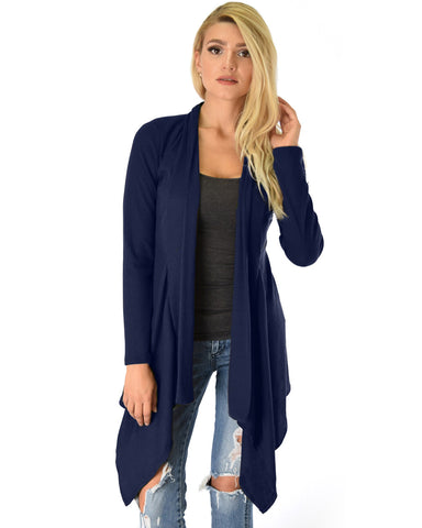 Body Slimming Draped Ribbed Navy Cardigan