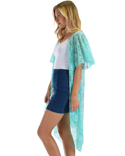 Lyss Loo Women's Simple Pleasure Mint Lace Kimono Cardigan
