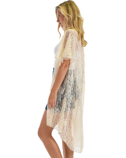 Lyss Loo Women's Simple Pleasure Taupe Lace Kimono Cardigan