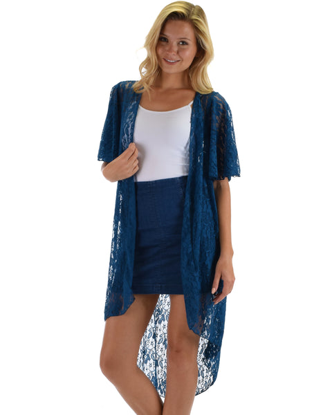 Lyss Loo Women's Simple Pleasure Teal Lace Kimono Cardigan