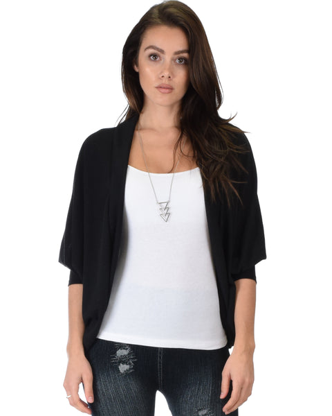 Comin' Up Cozy Black Long Sleeve Cocoon Cardigan