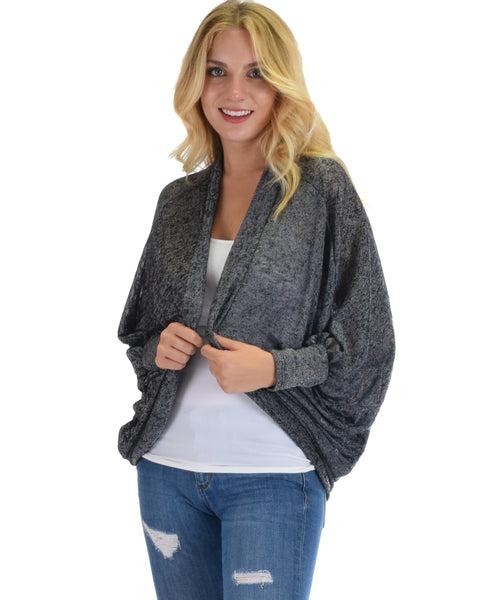 Comin' Up Cozy Grey Long Sleeve Cocoon Cardigan