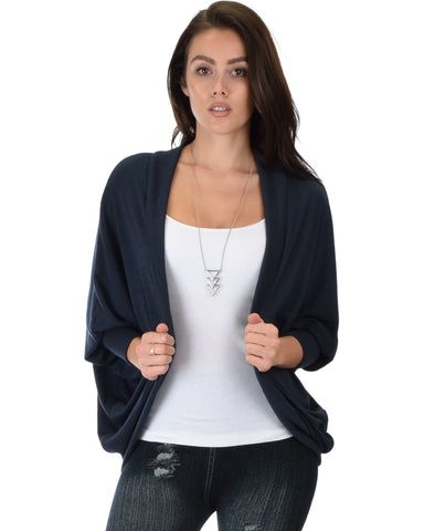 Comin' Up Cozy Navy Long Sleeve Cocoon Cardigan