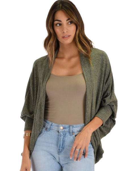 Comin' Up Cozy Olive 2-Tone Long Sleeve Cocoon Cardigan
