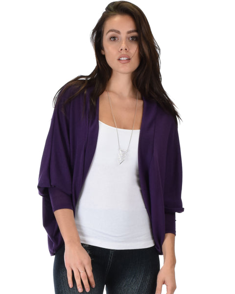 Comin' Up Cozy Purple Long Sleeve Cocoon Cardigan
