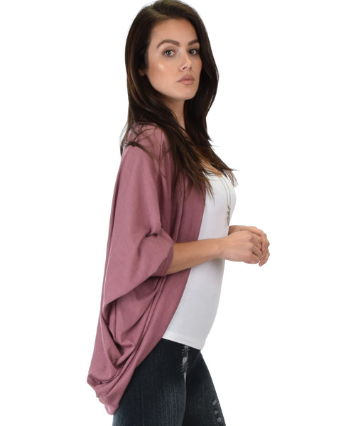 Comin' Up Cozy Marsala Long Sleeve Cocoon Cardigan