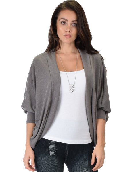 Comin' Up Cozy Taupe Long Sleeve Cocoon Cardigan