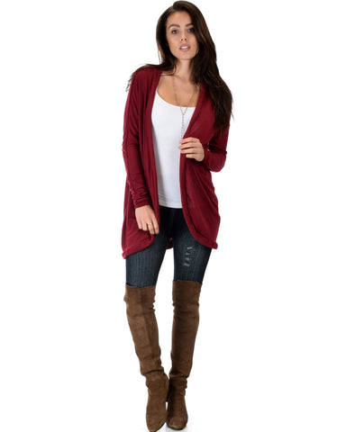 City Sleek Long-Line Burgundy Cardigan