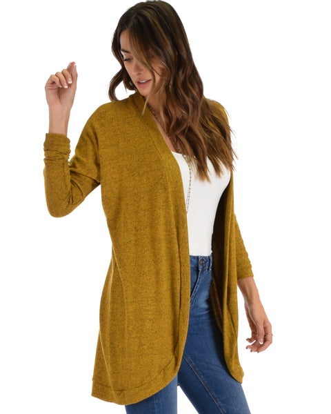 City Sleek Long-Line Mustard Cardigan
