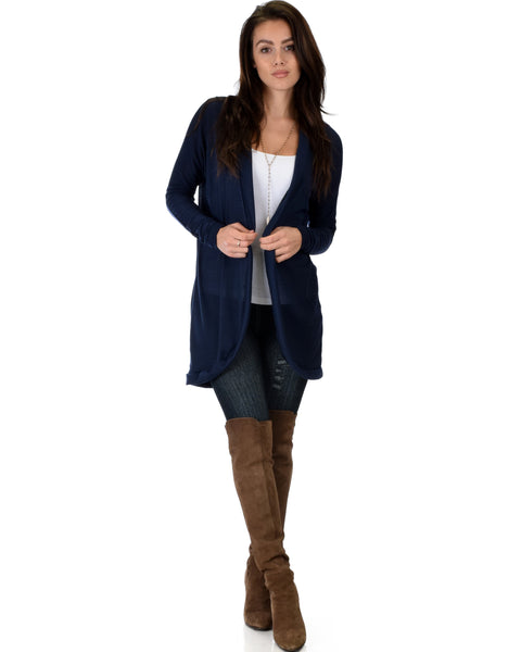 City Sleek Long-Line Navy Cardigan