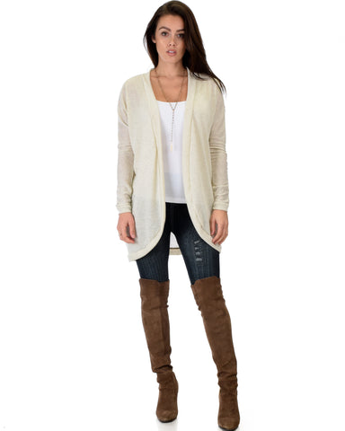 City Sleek Long-Line Ivory Cardigan