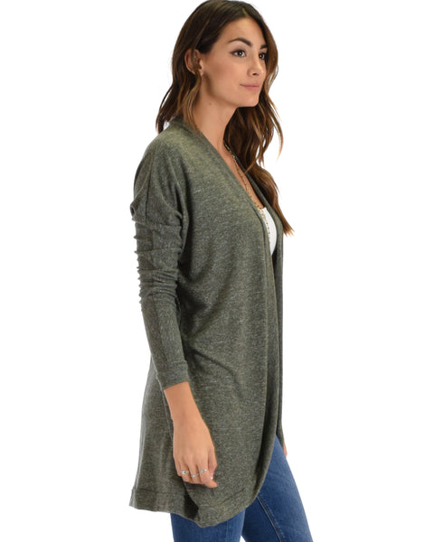 City Sleek Long-Line Olive 2-Tone Cardigan