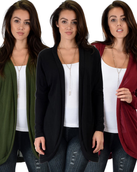 3 Pack City Sleek Long-Line Cardigan