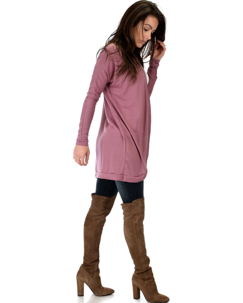 City Sleek Long-Line Marsala Cardigan