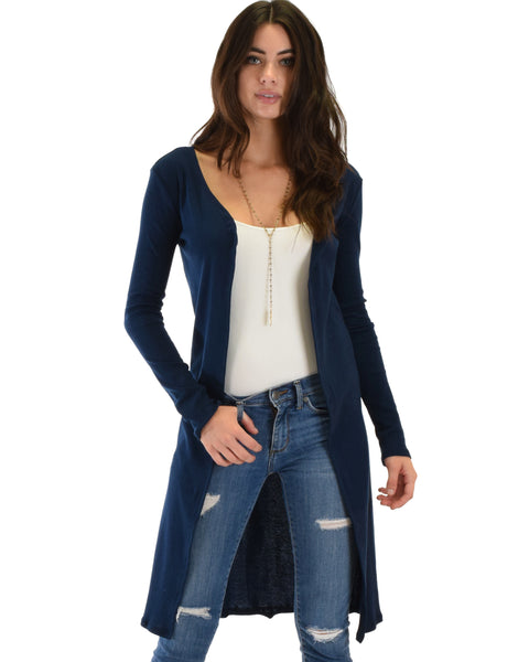Juniors Graceful Ways Long Navy Cardigan