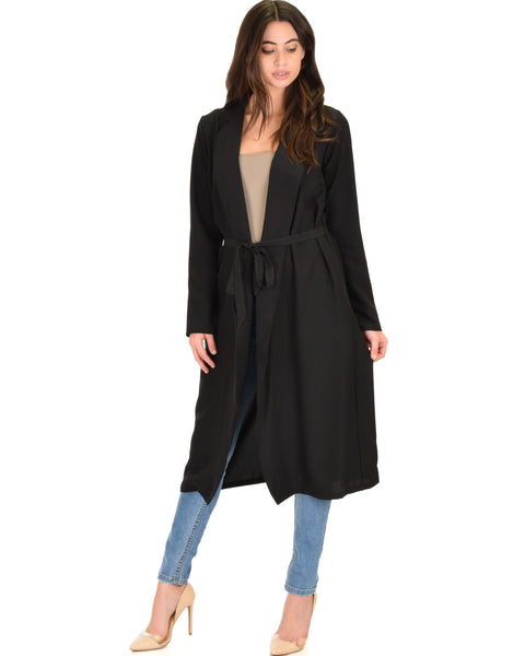 Contemporary Belted Sheer Black Spring Cardigan