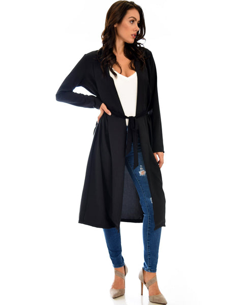 Contemporary Belted Long Line Black Cardigan Coat