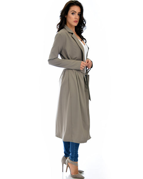 Contemporary Belted Long Line Brown Cardigan Coat