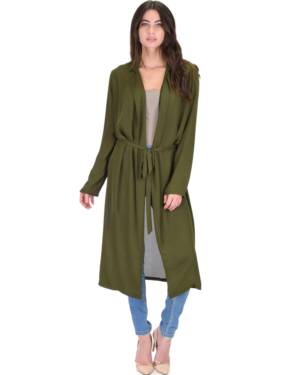 47e95dc241f Contemporary Belted Sheer Olive Spring Cardigan ...