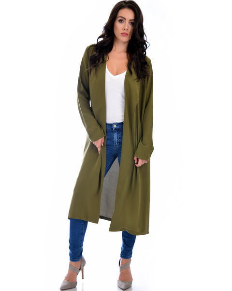 Contemporary Belted Long Line Olive Cardigan Coat