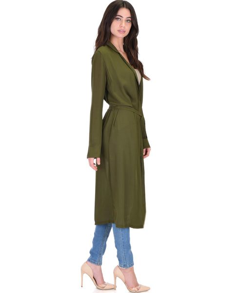 Contemporary Belted Sheer Olive Spring Cardigan