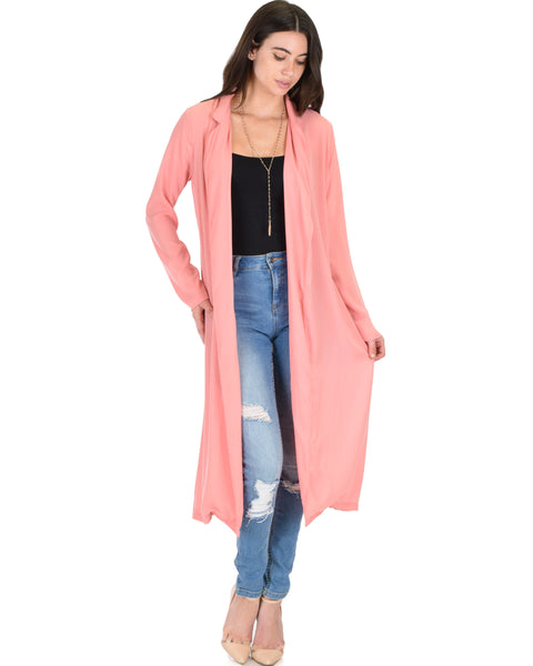 Contemporary Belted Sheer Pink Spring Cardigan