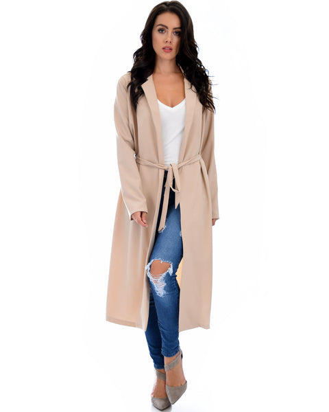 Contemporary Belted Long Line Taupe Cardigan Coat