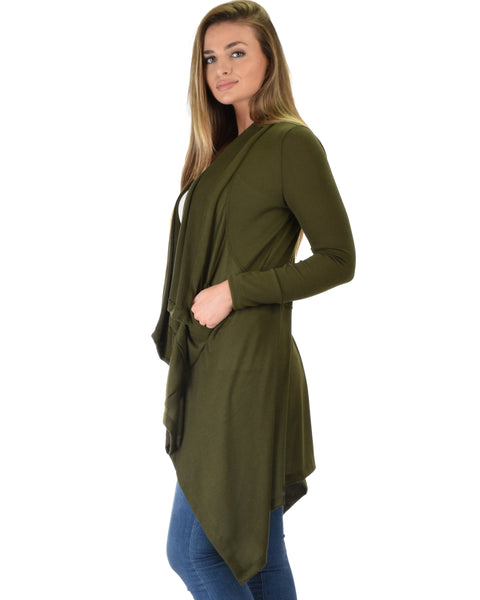 Good Natured Cozy Olive Sweater Cardigan