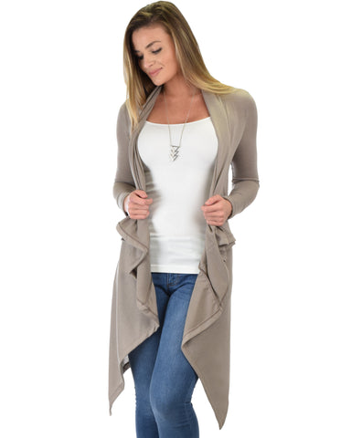Good Natured Cozy Taupe Sweater Cardigan