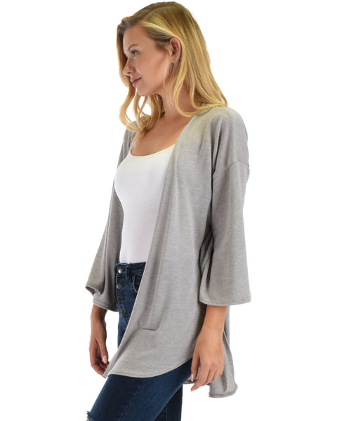 Lyss Loo Graceful Ways Grey Kimono Style Cardigan Top