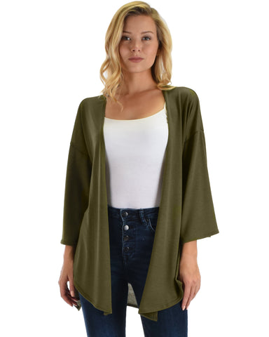 Lyss Loo Graceful Ways Olive Kimono Style Cardigan Top
