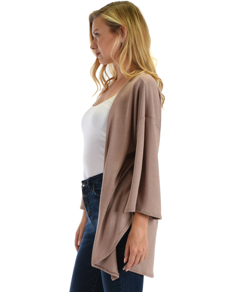 Lyss Loo Graceful Ways Taupe Kimono Style Cardigan Top