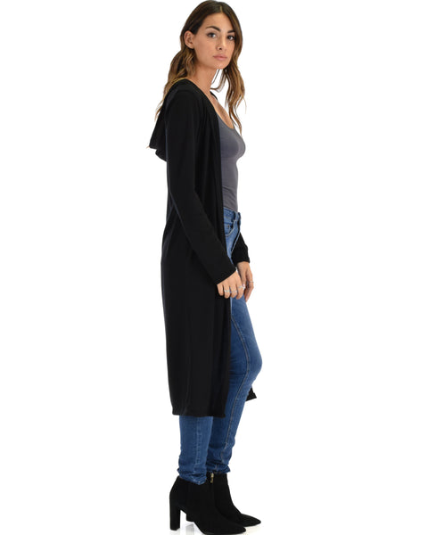 Cover Me Up Long-line Black Hooded Cardigan
