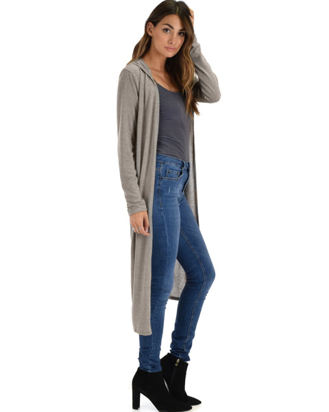 Cover Me Up Long-line Grey Hooded Cardigan