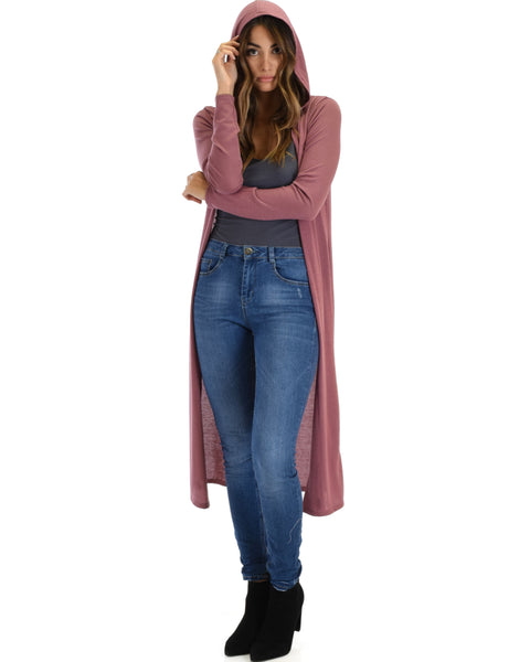 Cover Me Up Long-line Marsala Hooded Cardigan
