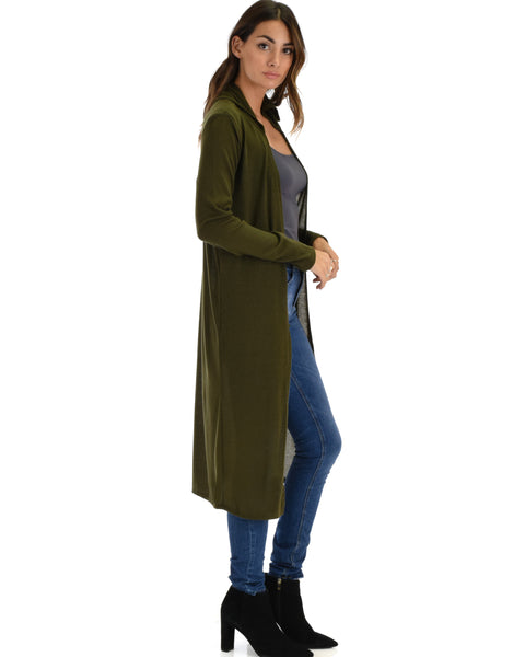 Cover Me Up Long-line Olive Hooded Cardigan