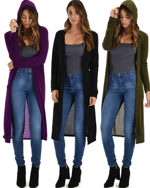 3 Pack Cover Me Up Long-line Hooded Cardigan