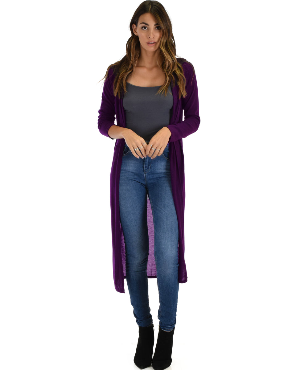 00b2cd5d4d Cover Me Up Long-line Purple Hooded Cardigan ...