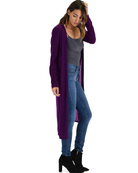 Cover Me Up Long-line Purple Hooded Cardigan