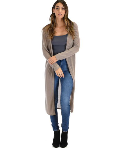 Cover Me Up Long-line Taupe Hooded Cardigan