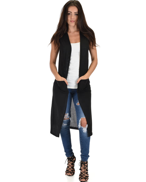 Cover Me Up Long-line Black Cardigan Vest With Pockets