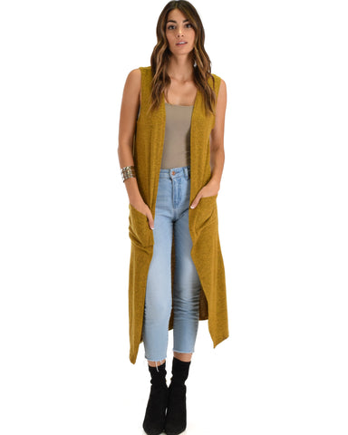 Cover Me Up Long-line Mustard Cardigan Vest With Pockets