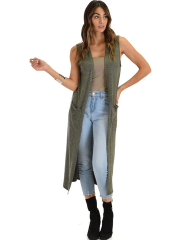Cover Me Up Long-line Olive Cardigan Vest With Pockets