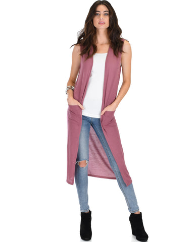 Cover Me Up Long-line Marsala Cardigan Vest With Pockets